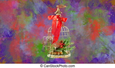 Watercolor Christmas decoration birdcage on the back-ground ...