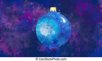 Watercolor Christmas decoration blue ball on the back-ground...