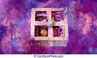 Watercolor Christmas decoration gift box on the back-ground ...