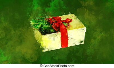 Watercolor Christmas decoration gold box on the back-ground ...