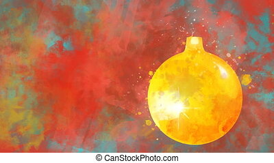 Watercolor Christmas decoration golden ball on the background of colored blots.