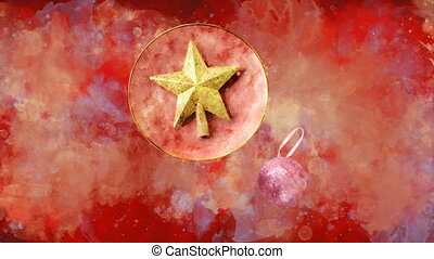 Watercolor Christmas decoration golden star on the background of colored blots.