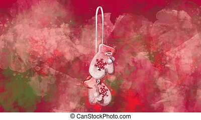 Watercolor Christmas decoration mittens on the back-ground ...