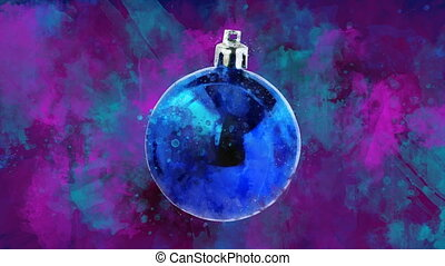 Watercolor Christmas decoration navy ball on the back-ground...