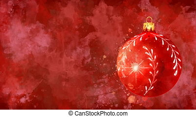 Watercolor Christmas decoration red ball on the back-ground ...