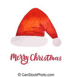 Watercolor Christmas Santa hat. Bright Holiday decoration. Xmas design elements. Vector illustration