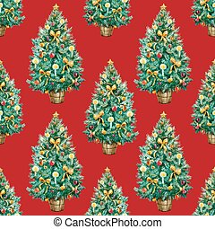 Watercolor Christmas tree pattern