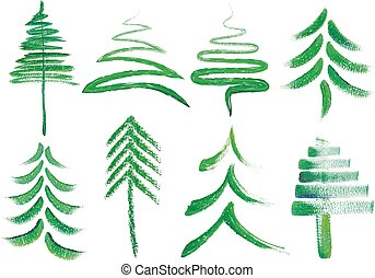 Watercolor Christmas trees, vector - Watercolor Christmas...