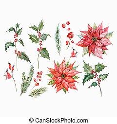 Watercolor christmas vector set