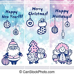 Watercolor Christmas vector set of banners can be used as a gree