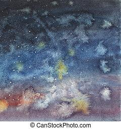 watercolor., ciel, main, étoiles, nuit, dessiné
