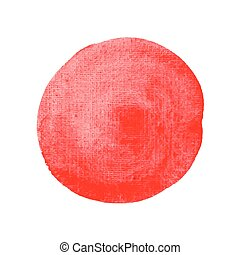 Watercolor circle red vector hand paint texture, abstract isolated on white background