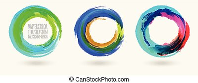 Watercolor circle texture set. Vector circle elements