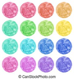 Watercolor circles isolated on white background. Colorful hand painted banners set.