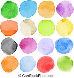 Watercolor circles - Watercolor hand painted circle shape...