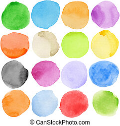 Watercolor circles - Watercolor hand painted circle shape...
