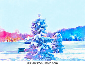 Watercolor cityscape. New year night. Spruce covered with snow. A magical night in the winter Park. Digital painting - illustration.