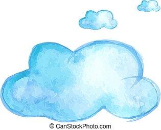 Watercolor cloud illustration. Vector