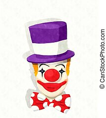 watercolor, clown