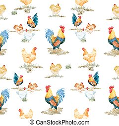 Watercolor cock rooster pattern