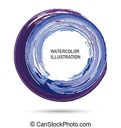 Watercolor color circle texture. Ink round stroke on white backg