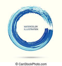 Watercolor color circle texture. Ink round stroke on white background. Vector of grunge circle stains