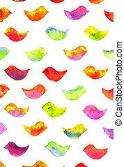 watercolor colorful birds