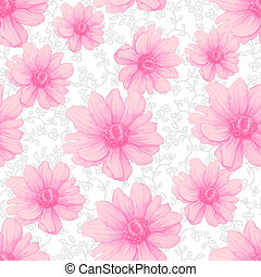 Watercolor colorful pattern with pink anemone flowers on white background. Hand drawing Illustration