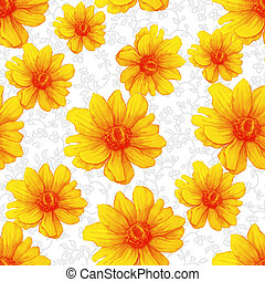Watercolor colorful pattern with yellow anemone flowers on white background. Hand drawing Illustration