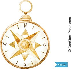Beautiful vector image with nice watercolor compass