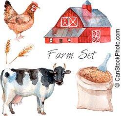 Watercolor Concept Farm Set