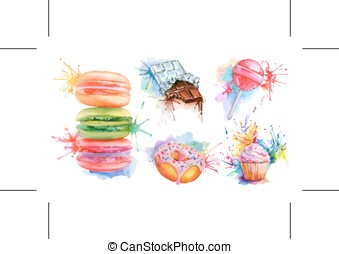 Watercolor confectionery set, vector icon collection with candy lollipop