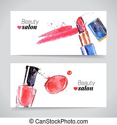 Watercolor cosmetics banner set. Vector beauty illustration