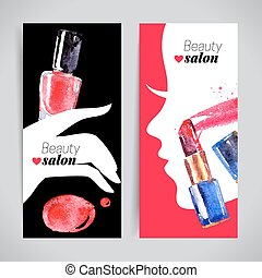 Watercolor cosmetics banner set. Vector illustration