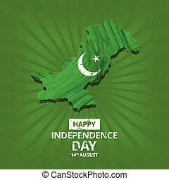 watercolor country map with creative typography on green abstract background. Pak Wallpaper. New Pakistani Freedom Day 2017. Vector 14 August Pakistan Independence Day. Celebration Card. Illustration