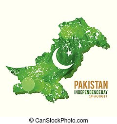 watercolor country map with creative typography. Pak Wallpaper. New Pakistani Freedom Day 2016. Vector 14 August Pakistan Independence Day. Celebration Card. Illustration