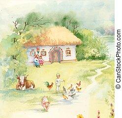 Watercolor countryside landscape with little boy feeding farm animals.
