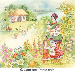 Watercolor countryside landscape with little boy feeding farm animals over Woman in folk costume with children