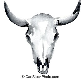 cow skull - watercolor cow skull, vector illustration