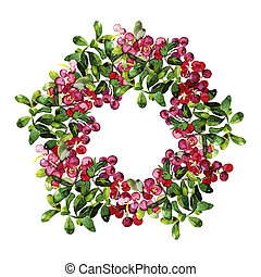 Watercolor cranberry wreath. Christmas design isolated on...