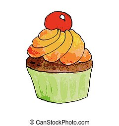 Watercolor cupcake