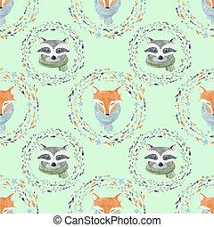 Watercolor cute animal vector pattern