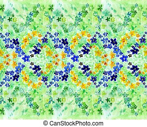 watercolor dark blue and yellow flowers on a green background
