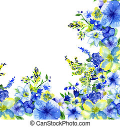 watercolor dark blue and yellow flowers on a white ...