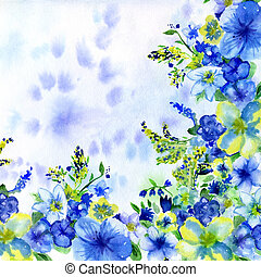 watercolor dark blue and yellow flowers on a white background