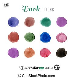 Watercolor dark palette 12 color circles