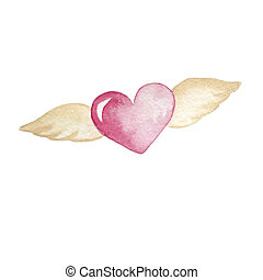Pink flying heart with beige wings