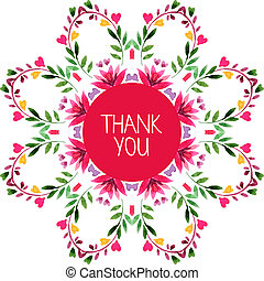 Watercolor decorative round pattern with floral ornament. Thank you card