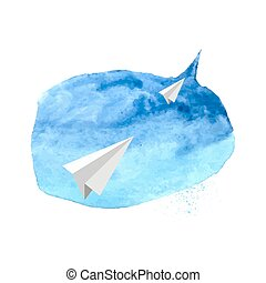 Watercolor design element blue spot with a paper airplane?