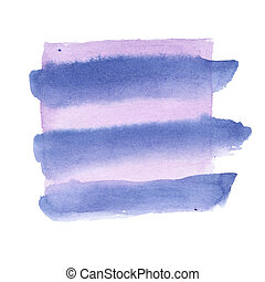 Watercolor design element - gradient waved smooth stripes of light purple and blue colors with brush texture